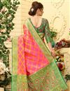 photo of Weaving Work On Pink Patola Style Jacquard Silk Festive Wear Saree