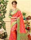 image of Weaving Work On Pink Patola Style Jacquard Silk Festive Wear Saree
