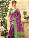 image of Weaving Work On Patola Style Party Wear Jacquard Silk Saree In Purple
