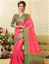 image of Peach Patola Style Traditional Jacquard Silk Saree With Weaving Work