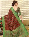 photo of Weaving Work On Patola Style Jacquard Silk Designer Saree In Brown