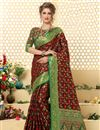 image of Weaving Work On Patola Style Jacquard Silk Designer Saree In Brown
