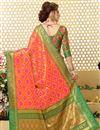 photo of Patola Style Jacquard Silk Salmon Color Designer Saree With Weaving Designs