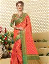 image of Patola Style Jacquard Silk Salmon Color Designer Saree With Weaving Designs