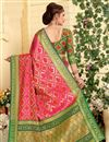 photo of Patola Style Jacquard Silk Pink Designer Saree With Weaving Designs