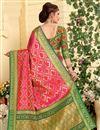 photo of Weaving Work On Jacquard Silk Patola Style Pink Festive Wear Saree