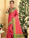 image of Weaving Work On Jacquard Silk Patola Style Pink Festive Wear Saree