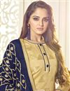 photo of Designer Jacquard Fabric Fancy Embellished Churidar Dress In Cream With Embroidered Dupatta