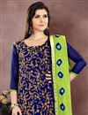 photo of Chanderi Fabric Navy Blue Casual Party Style Suit With Embroidery Work