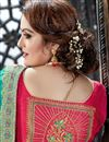 photo of Cyan Color Embroidery Designs On Art Silk Party Wear Saree With Attractive Blouse