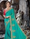 image of Cyan Color Embroidery Designs On Art Silk Party Wear Saree With Attractive Blouse