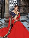 photo of Chiffon Fabric Red Function Wear Saree With Embroidery Work And Astounding Blouse