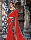 image of Chiffon Fabric Red Function Wear Saree With Embroidery Work And Astounding Blouse