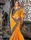 photo of Embroidery Work On Chiffon Fabric Mustard Party Wear Saree With Amazing Blouse