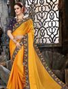 image of Embroidery Work On Chiffon Fabric Mustard Party Wear Saree With Amazing Blouse