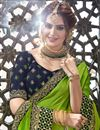 photo of Chiffon Fabric Green Green Wedding Wear Saree With Embroidery Work And Gorgeous Blouse