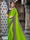 image of Chiffon Fabric Green Green Wedding Wear Saree With Embroidery Work And Gorgeous Blouse