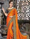 image of Embroidery Work On Party Wear Saree In Orange Chiffon Fabric With Charming Blouse