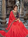 photo of Embroidery Work On Chiffon Fabric Designer Saree In Crimson Color With Admirable Blouse
