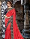 image of Embroidery Work On Chiffon Fabric Designer Saree In Crimson Color With Admirable Blouse