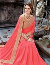 photo of Chiffon Party Wear Saree In Peach With Embroidery Work And Beautiful Blouse