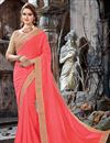 image of Chiffon Party Wear Saree In Peach With Embroidery Work And Beautiful Blouse