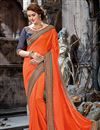 image of Orange Designer Embroidered Saree In Chiffon With Attractive Blouse