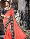 image of Chiffon Party Wear Saree In Salmon Color With Embroidery Work And Beautiful Blouse