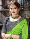 photo of Embroidery Work On Green Crepe And Net Fabric Function Wear Saree With Marvelous Blouse