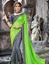 image of Embroidery Work On Green Crepe And Net Fabric Function Wear Saree With Marvelous Blouse