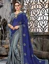 image of Chiffon And Net Fabric Grey Wedding Wear Saree With Embroidery Work And Gorgeous Blouse