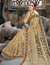 photo of Beige Embroidery Designs On Net Fabric Party Wear Saree With Attractive Blouse