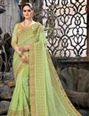 image of Sea Green Net Fabric Embroidered Designer Saree With Designer Blouse