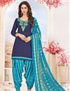 image of Cotton Embroidered Navy Blue Designer Patiala Salwar Suit