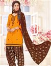 image of Designer Fancy Embroidered Cotton Patiala Dress With Embroidery Work