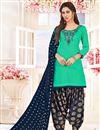 image of Party Wear Cotton Fancy Embellished Patiala Dress In Sea Green