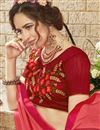 photo of Salmon Color Sangeet Wear Saree In Georgette With Designer Blouse