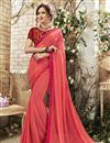 image of Salmon Color Sangeet Wear Saree In Georgette With Designer Blouse