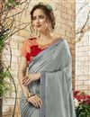 photo of Function Wear Grey Georgette Saree With Embroidered Blouse