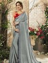 image of Function Wear Grey Georgette Saree With Embroidered Blouse