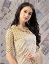 photo of Fancy Art Silk Fabric Printed Office Wear Saree In Cream Color