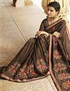 photo of Embroidery Work On Dark Beige Art Silk Function Wear Saree