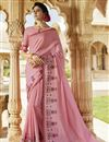 image of Pink Art Silk Embroidered Party Style Designer Saree
