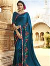 image of Festive Special Embroidery Work On Sky Blue Art Silk Reception Wear Saree