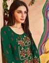 photo of Designer Dark Green Cotton Fabric Fancy Embellished Palazzo Dress