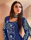 photo of Cotton Fabric Designer Straight Cut Embroidered Palazzo Suit In Navy Blue