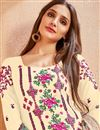 photo of Party Style Cotton Fabric Beige Embroidered Palazzo Suit