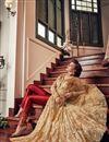 photo of Embroidery Work On Beige Net Wedding Wear Anarkali Salwar Suit