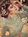 picture of Embroidered Net Sea Green Function Wear Anarkali Suit