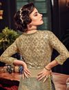 picture of Festive Special Embellished Net Designer Party Wear Palazzo Suit In Beige